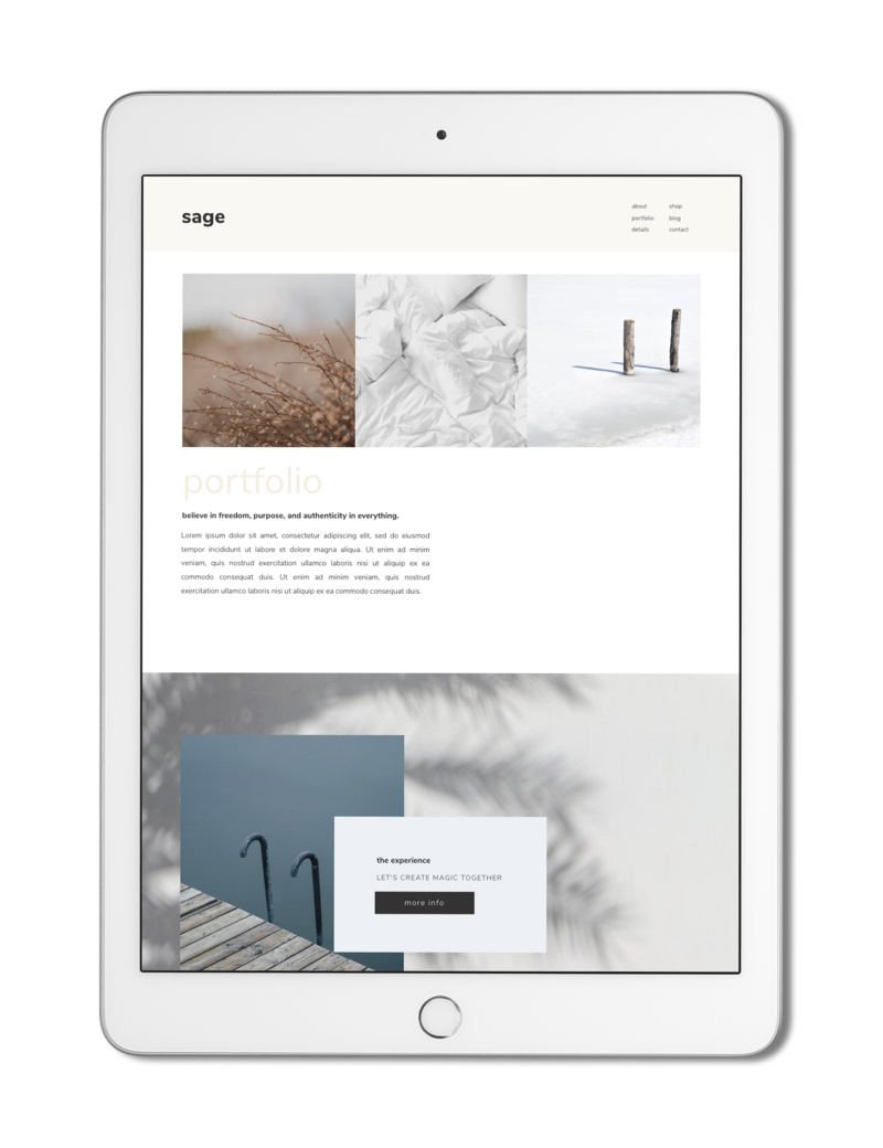 The Roar Showit Web Design Creative Website Business Template Ipad Sage 6