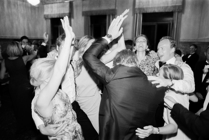 Crazy Dancing at A wedding, black and white photo on film