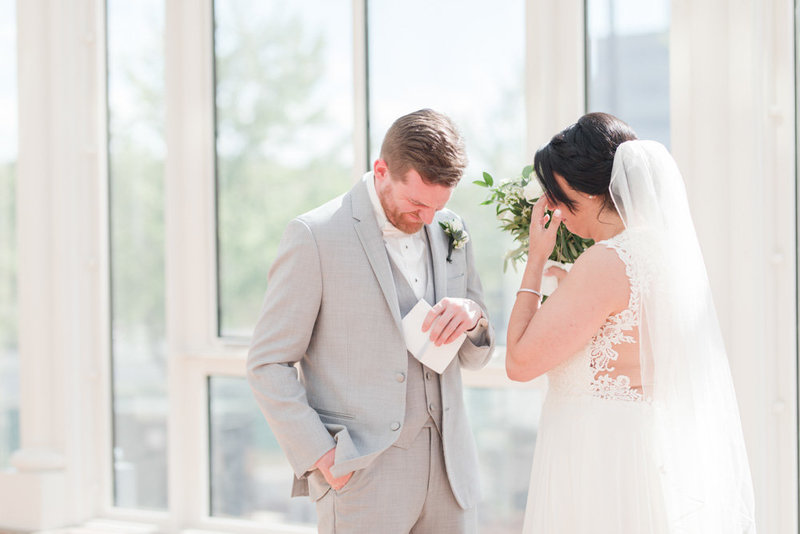 groom crying during first look  at Stone House at Stirling Ridge Maryland Wedding by  Costola Photography