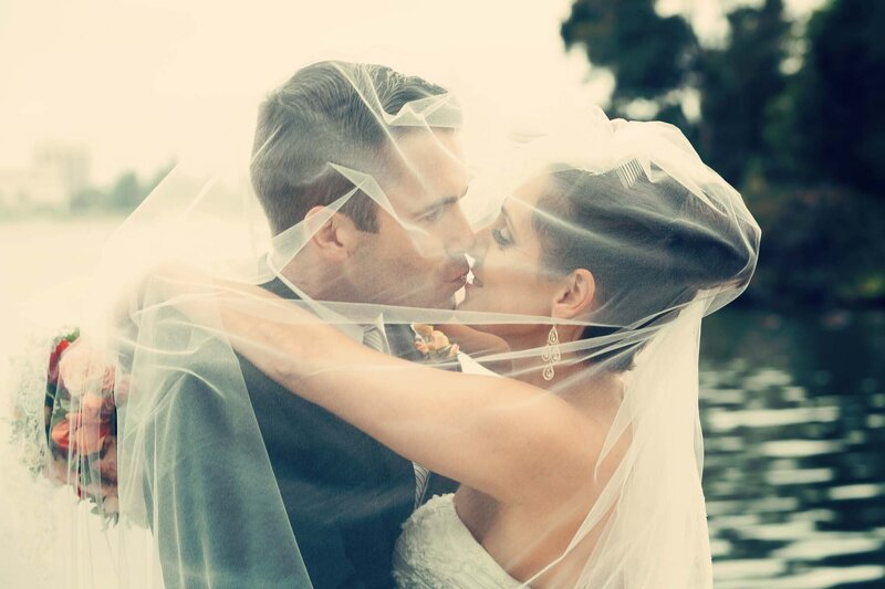 Bride and Groom with veil