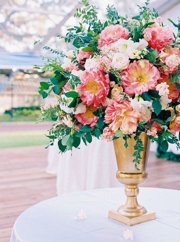 wedding bouquet on reception table
