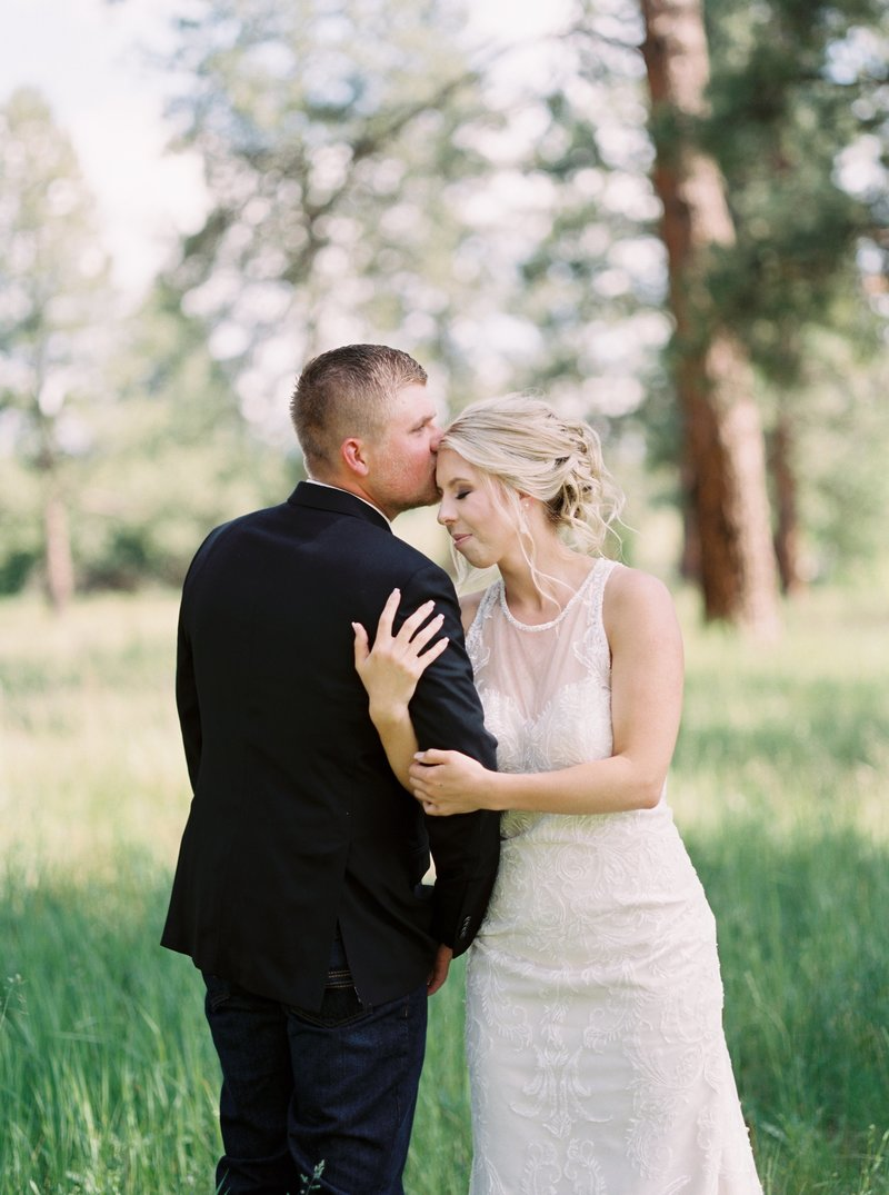 montana bride and groom in forest