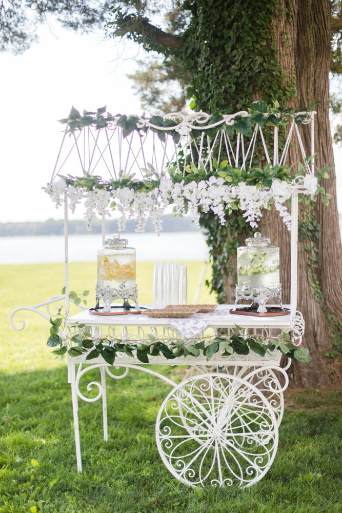 white iron drink station table at eastern shore wedding at kirkland manor by costola photography