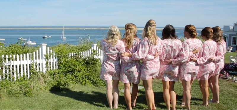 Bridal party looking out at the ocean at Chatham Bars Inn