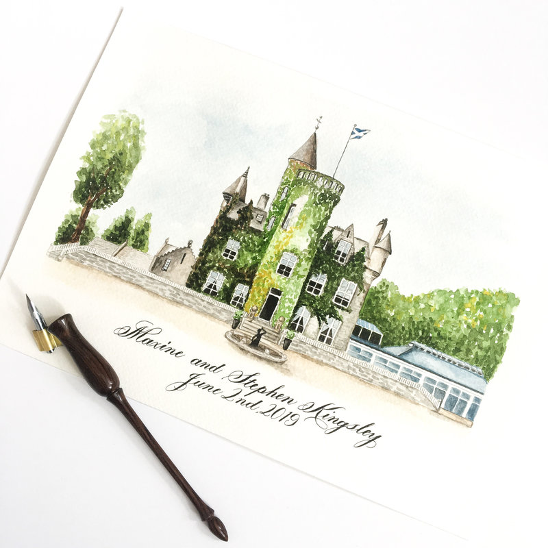Watercolour painting of Calowrie Castle, Scotland with calligraphy by Jenni Liandu Calligraphy