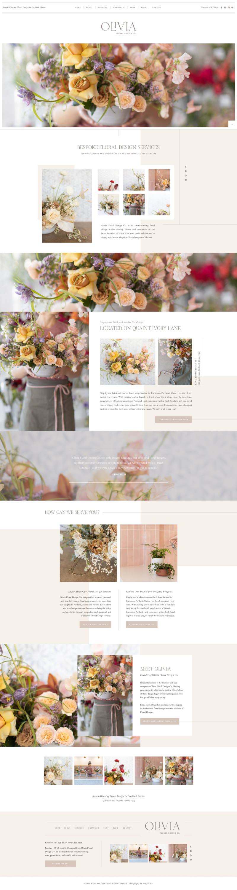 Olivia Showit Website Template by With Grace and Gold