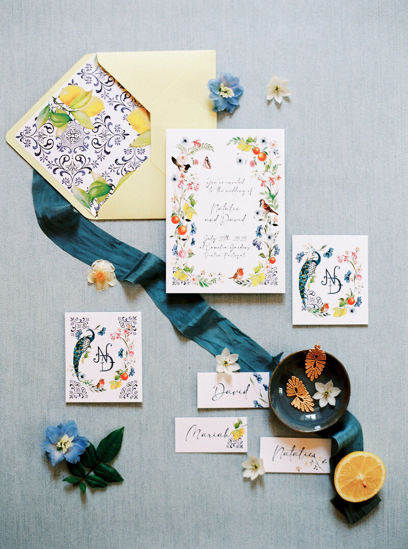 Colorful Wedding Invites by Sofia Nascimento Studios in Lisbon Portugal