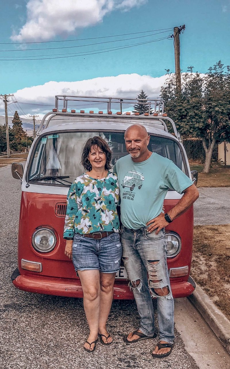 Lynda and Warren in front of kombi van Aggiee in Alexandra, New Zealand