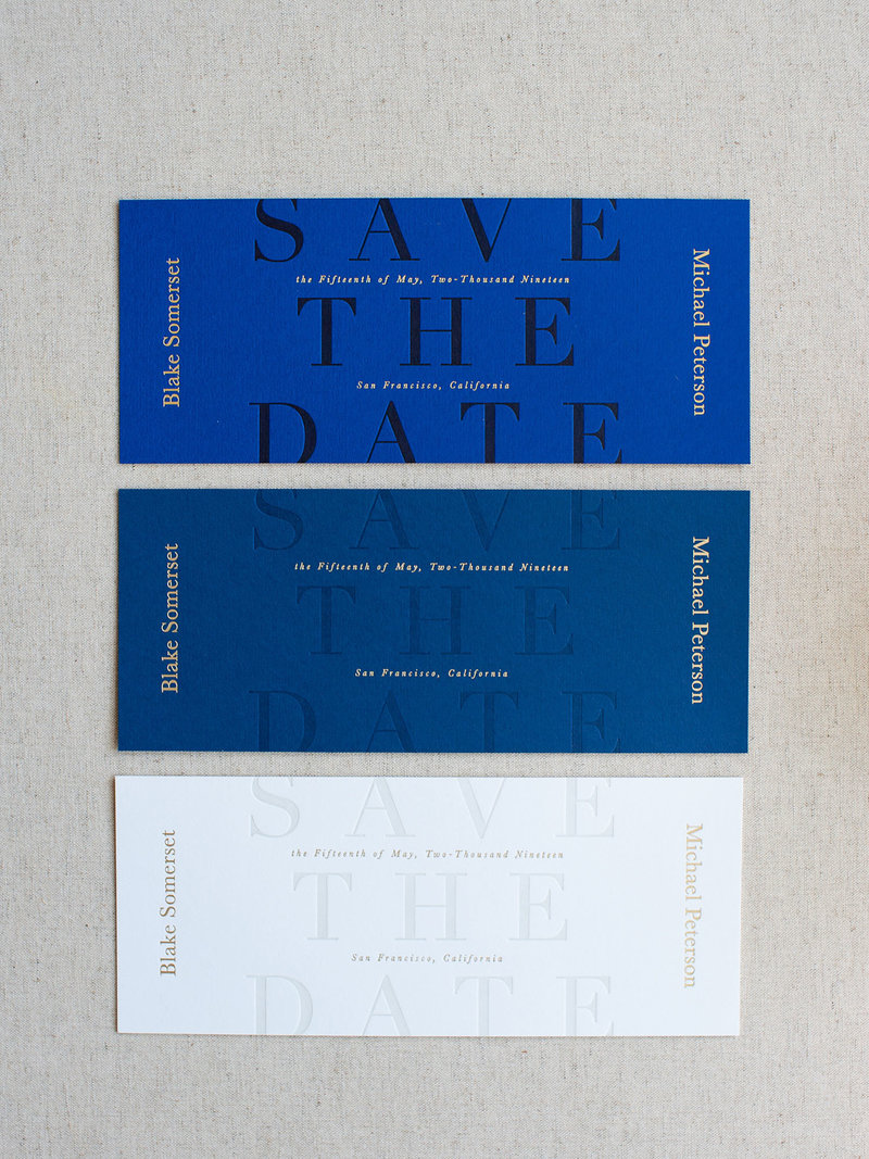 Semi-Custom Invitations - Midnight Gala Collection Save the Dates in 3 Colorways