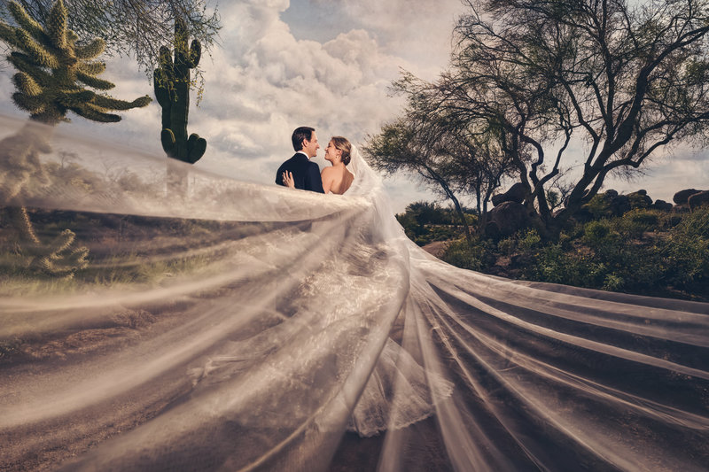 Bride and Groom in the desert in Scottsdale, AZ with dramatic lighting and dramatized wedding veil