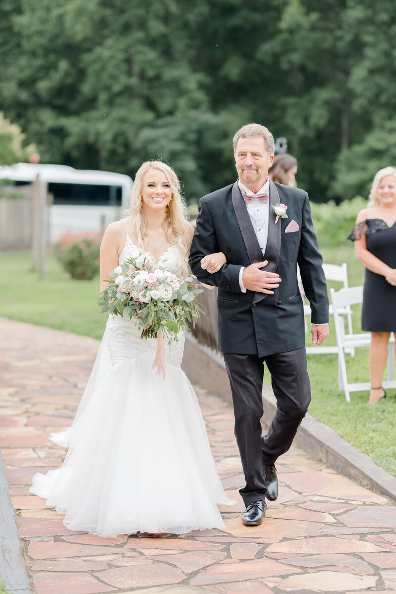father walking daughter down the aisle at Running Hare Vineyard Wedding photographer costola photography