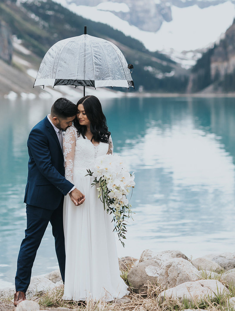 vintage lake louise summer elopement wedding photos