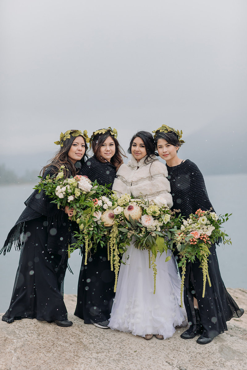 winter wedding lake minnewanka boho photographer