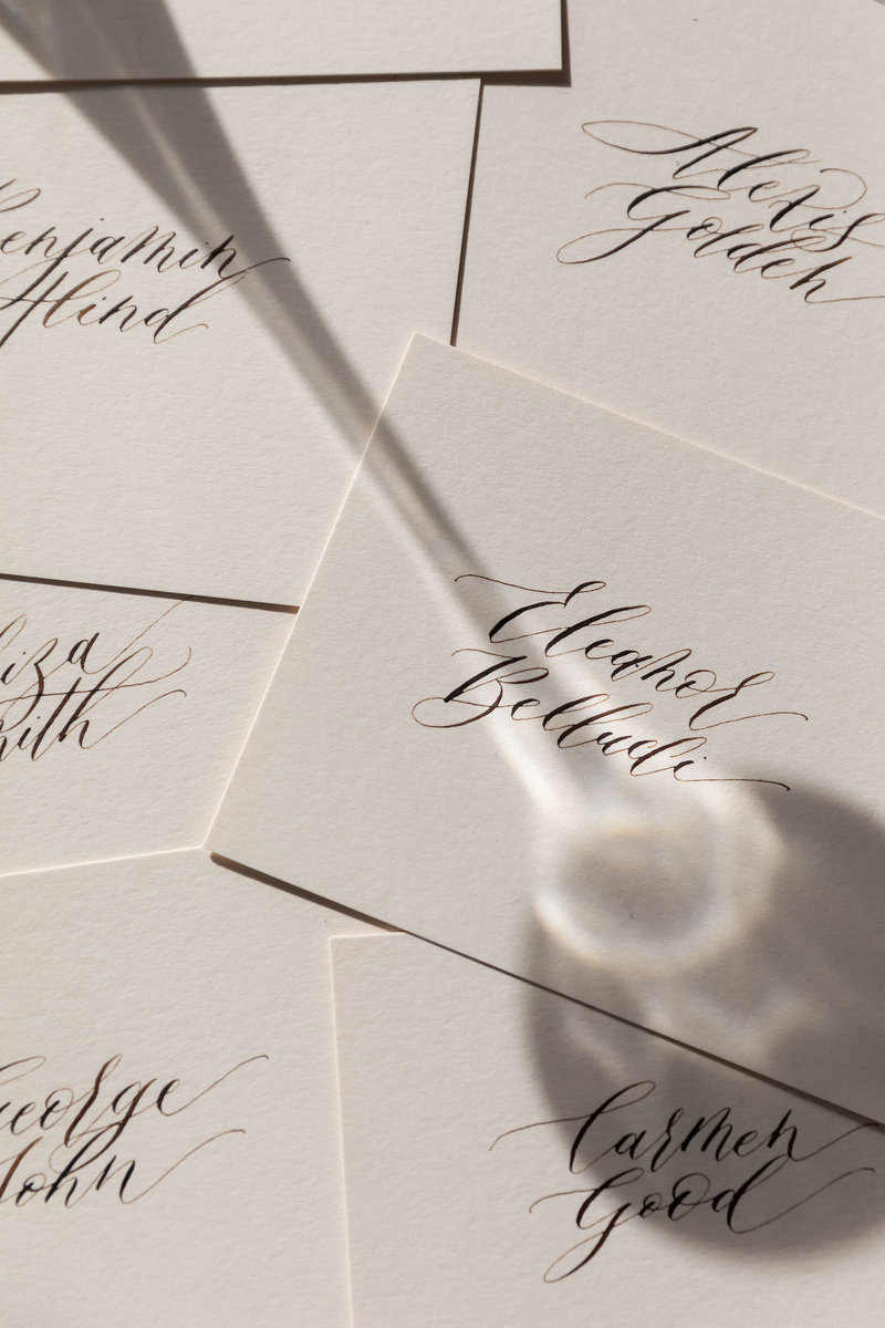 Hand written calligraphy place cards calligraphy en vogue