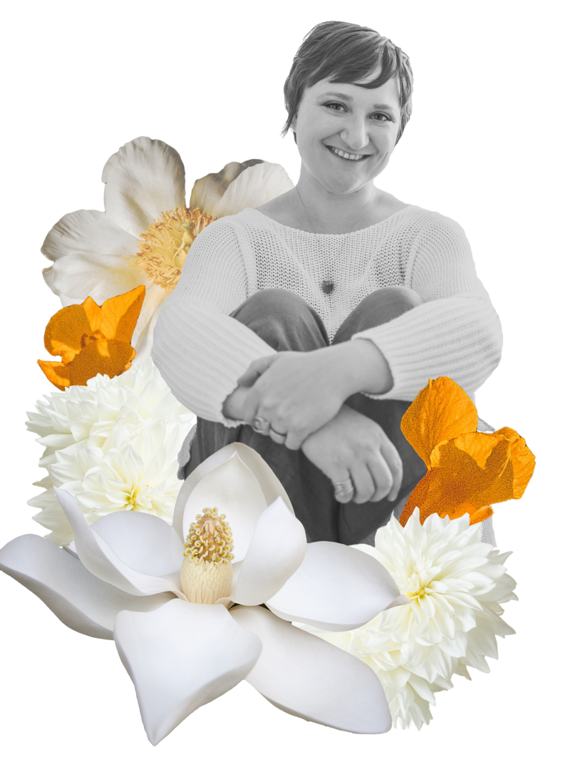 Black and White image of Ashley Stinson surrounded by white and gold flowers