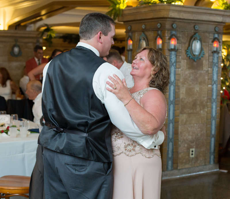 Groom dances with his mother at Masonic Temple wedding reception