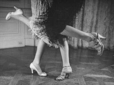 'Charleston Dancers in Fringed Skirts Wearing Rhinestone-Trimmed Pumps and Strapped Sandals' Photographic Print - Nina Leen _ Art_com
