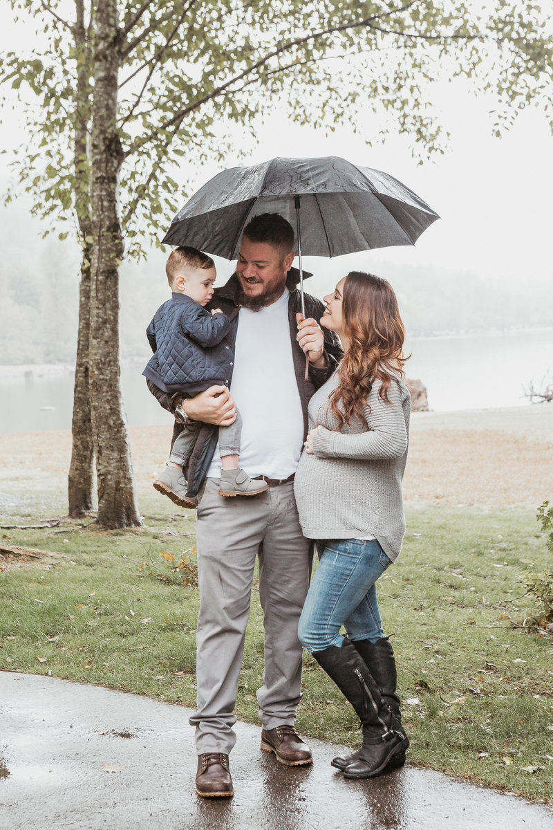 family portrait under an umbrella