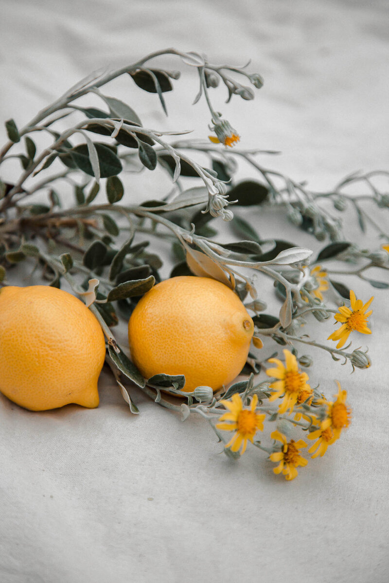 lemons with flowers lifestyle shoot