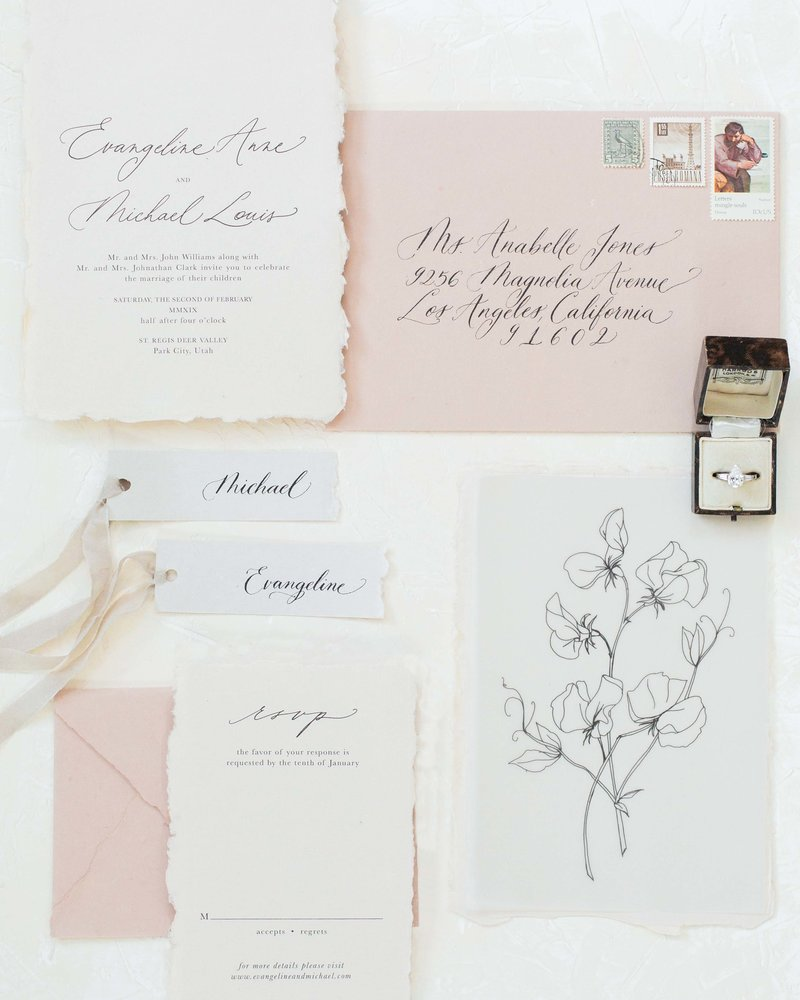 minimal and romantic wedding invitation suite by Dominique Alba (Plume & Fete)