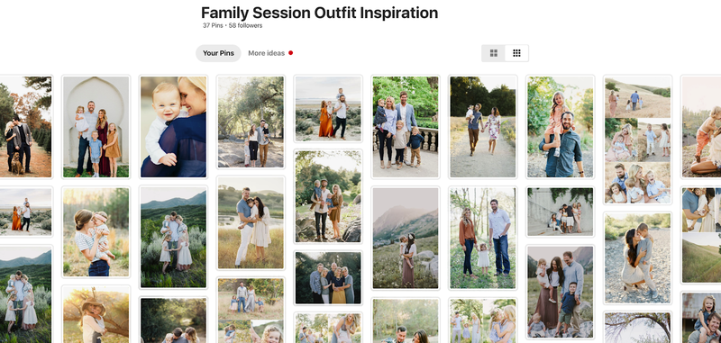Screenshot of family session outfit inspiration