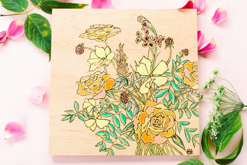 yellow and orange wood burned bouquet