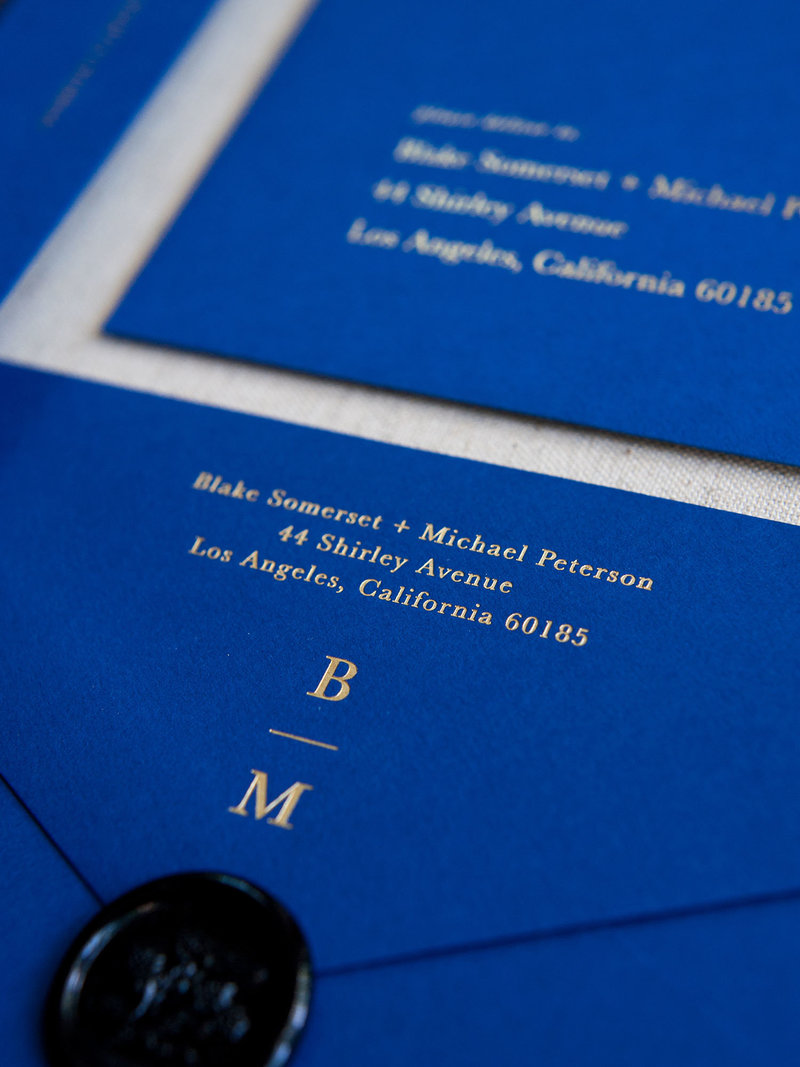 Semi-Custom Invitations - Midnight Gala Collection 4-Piece Suite Closeup on Envelope