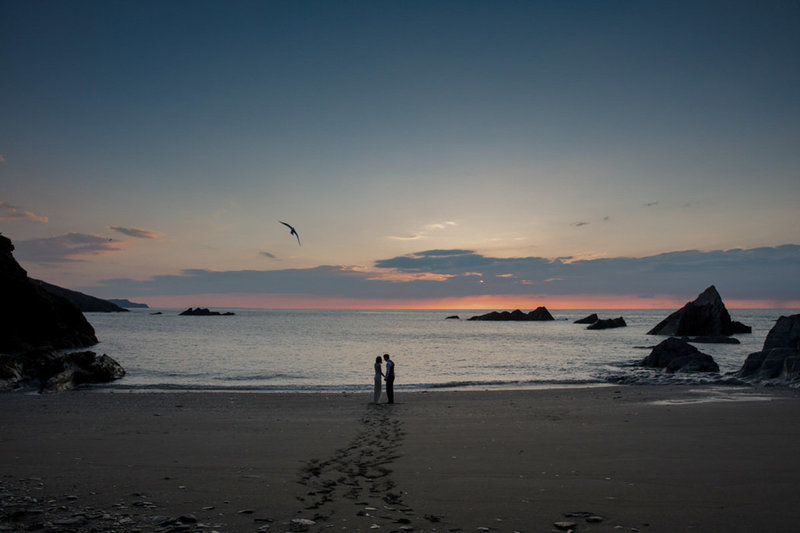 Sunset Wedding Photo at Tunnels Beaches in Devon