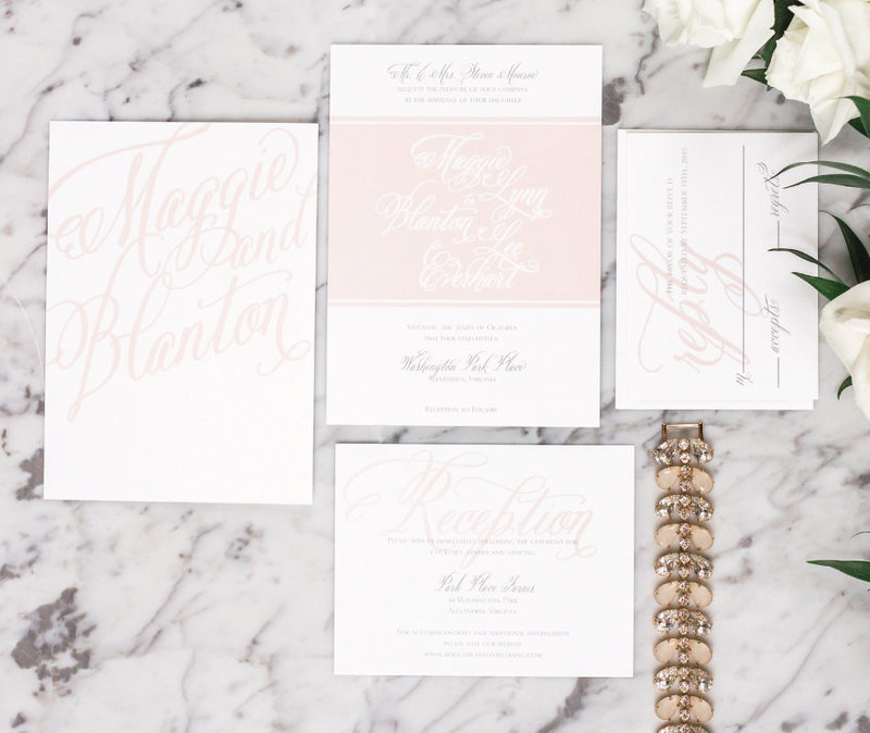 Blanton Soft Blush Calligraphy Wedding Invitation