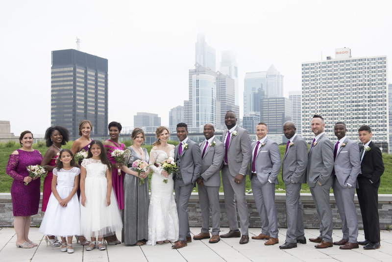 Wedding Party at Cira Green Philadelphia Skyline