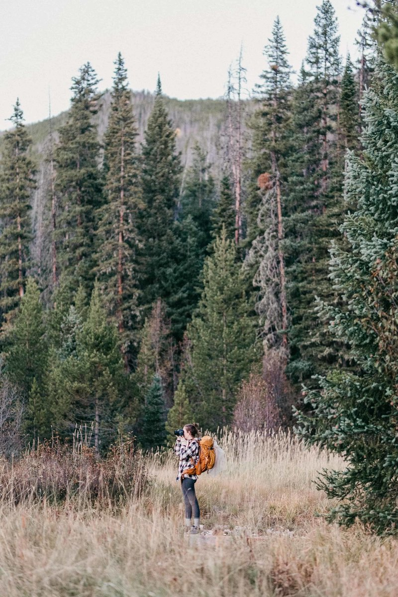 Samantha Schaub, Texas elopement photographer on backpacking adventure elopement photographing