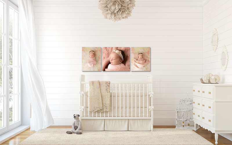 images of baby are displayed on the wall behind the crib in the nursery