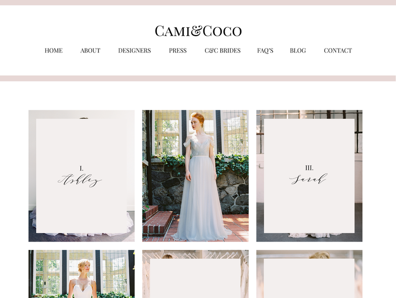 Showit5 website and Adobe Marketing templates designed specifically for the wedding dress boutique