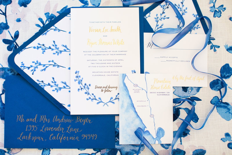 Invitation for wedding by Jenny Schneider Events in Sonoma, California. Photo by BrittRene Photography.