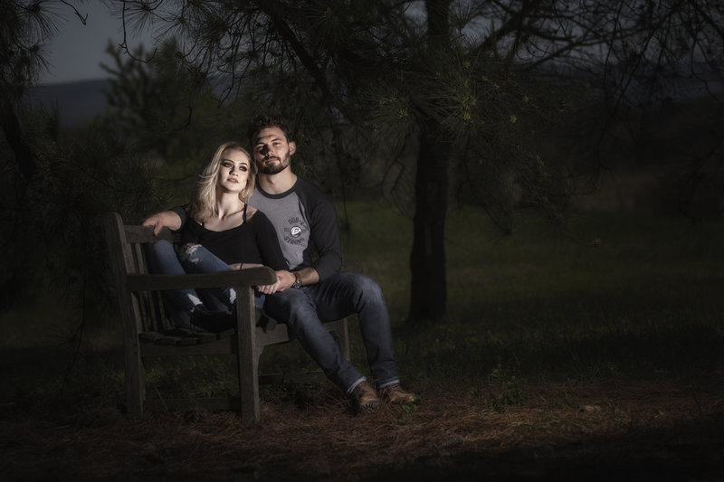 On Location portrait session for a couple, with a strobe flash