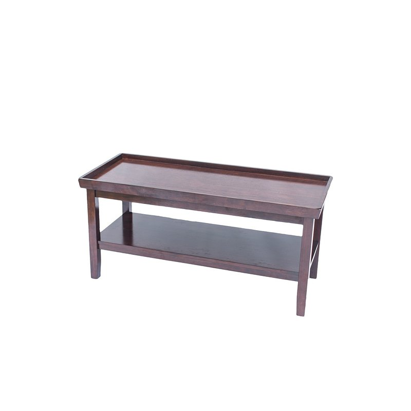 Dark brown, wooden coffee table with lower shelf.