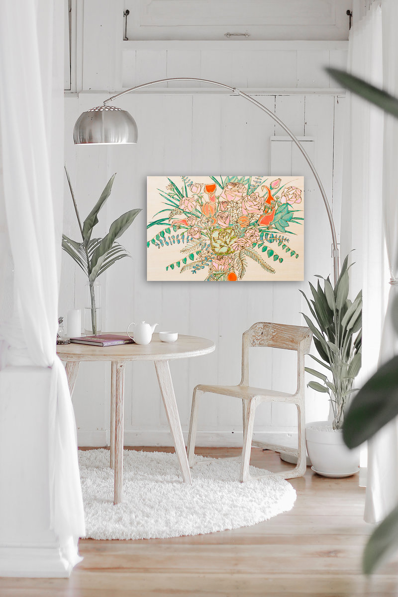 Bright orange flower wood burned and painted flower bouquet on white rustic wall
