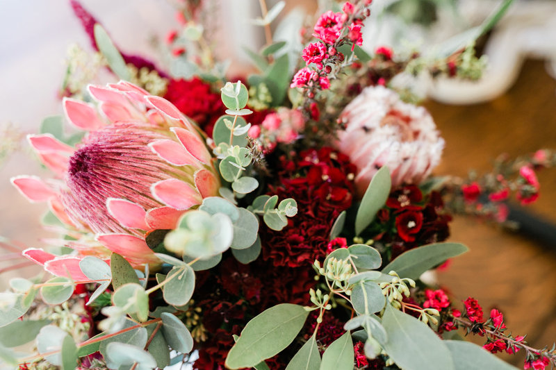 A perfect elopement bouquet full of eucalyptus and protea.