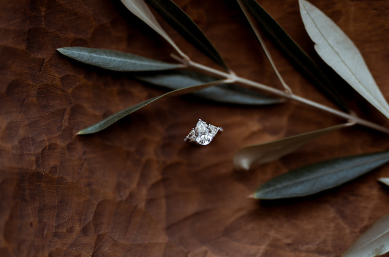 pear shape diamond, three stone ring, pear shape engagement ring, custom engagement ring, bespoke engagement ring, custom jewelry, pear shape trillion ring, pear shaped diamond, trillions, teardrop diamond