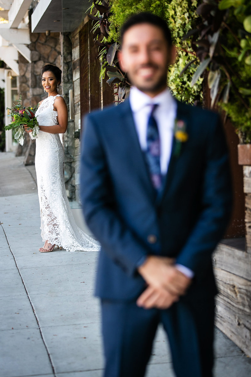 creative couple first look hotel seven4one wedding laguna beach
