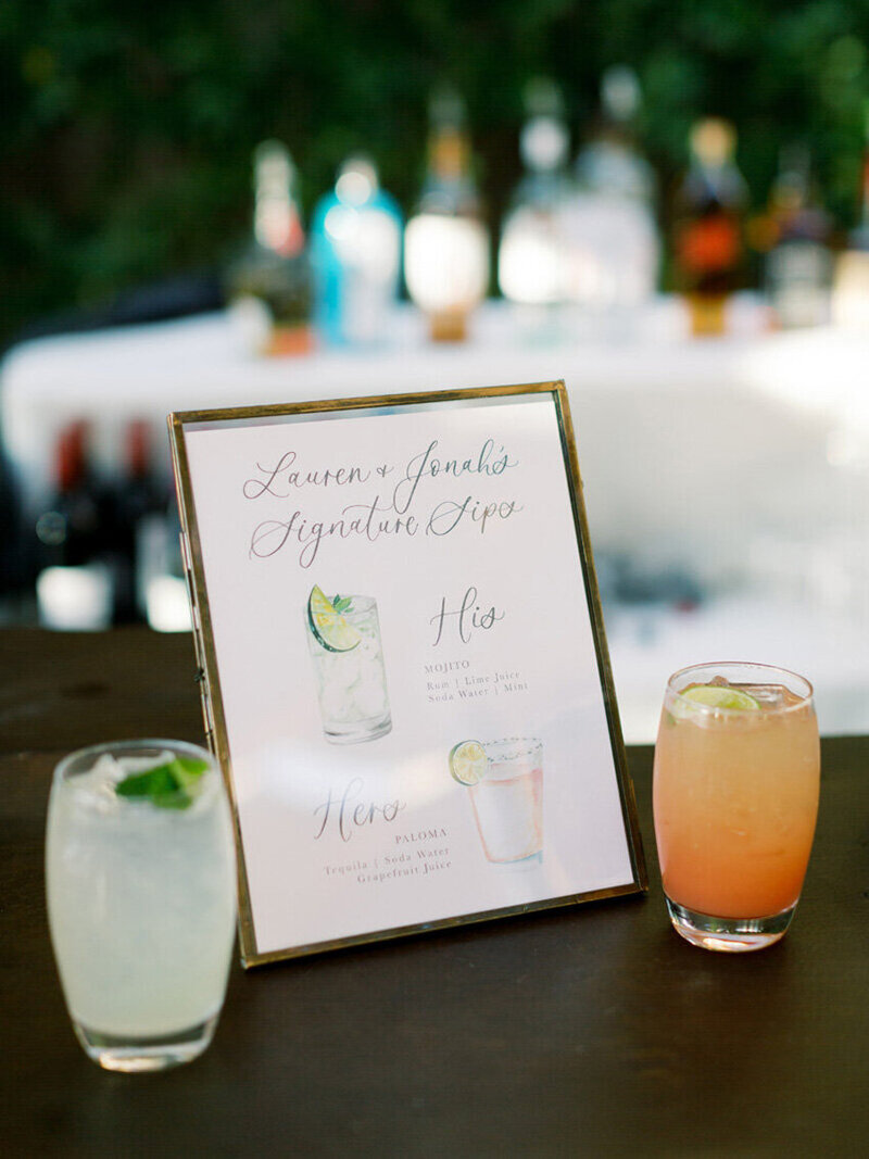 pirouettepaper.com | Wedding Stationery, Signage and Invitations | Pirouette Paper Company | Bar Signs and Bar Menus | Watercolor Signature Drinks 38