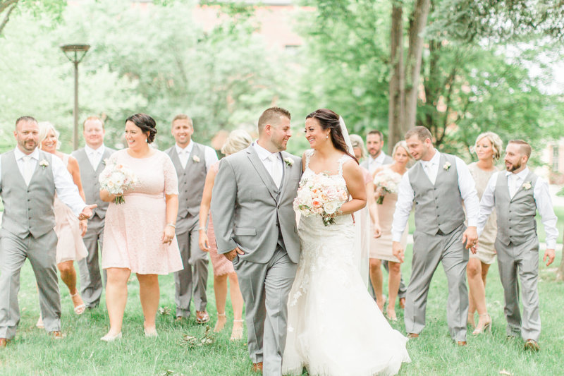 Bridal Party in Kent Ohio Laughing in Summer