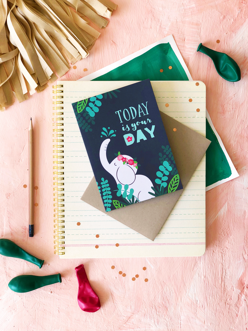 Elephant birthday card designed by Jen Pace Duran of Pace Creative Design Studio