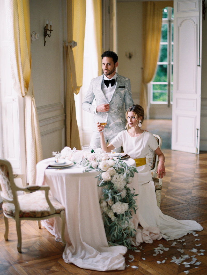 Beautiful couple celebrate their anniversary in a French manor