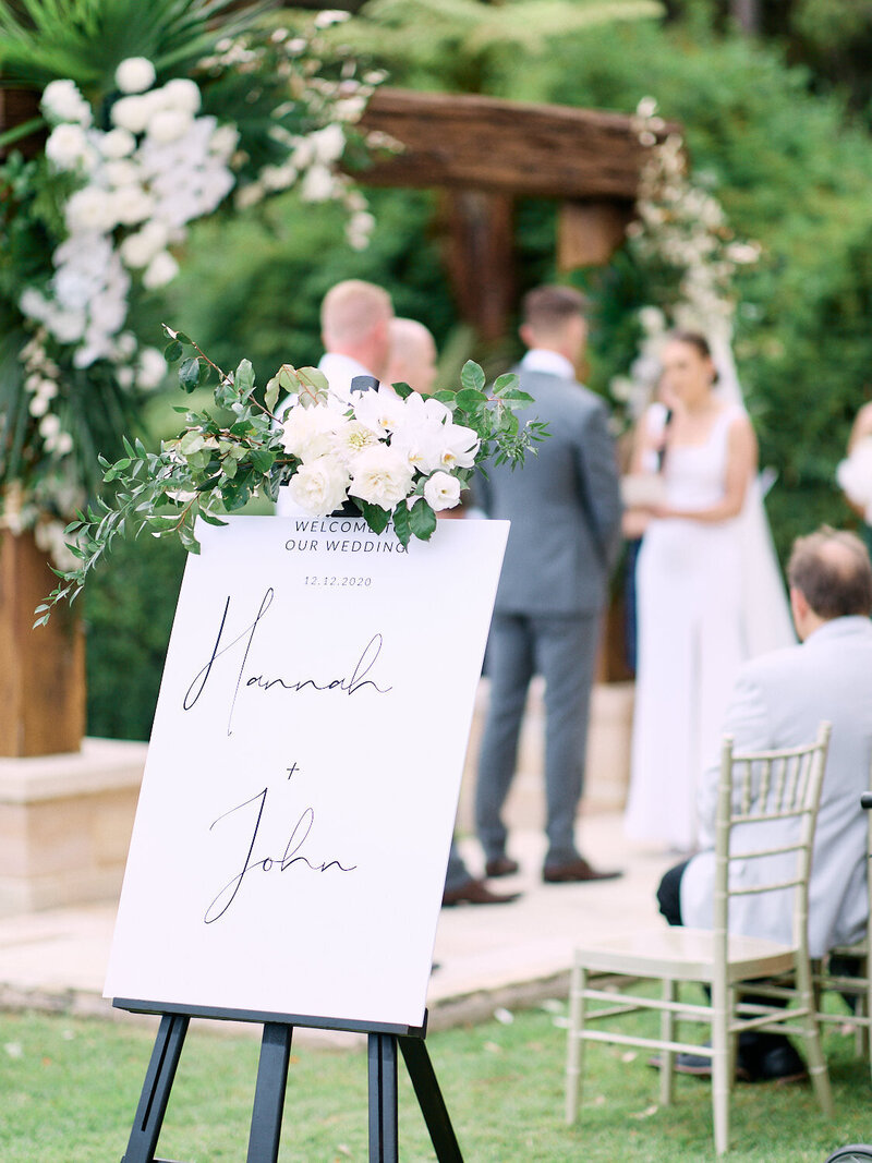 Wedding sign in front of ceremony
