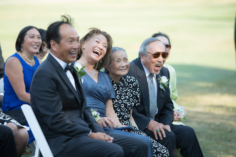 family laughter during ceremony