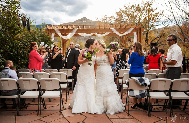 Sweet Romantic Wedding Photo on the Courtyard of The Golden Hotel in Colorado