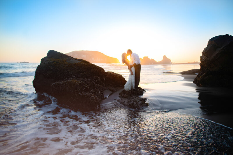 Magical and romantic wedding Portrait of a bride and groom at sunset in Humboldt County, California, by Parky's Pics Photography