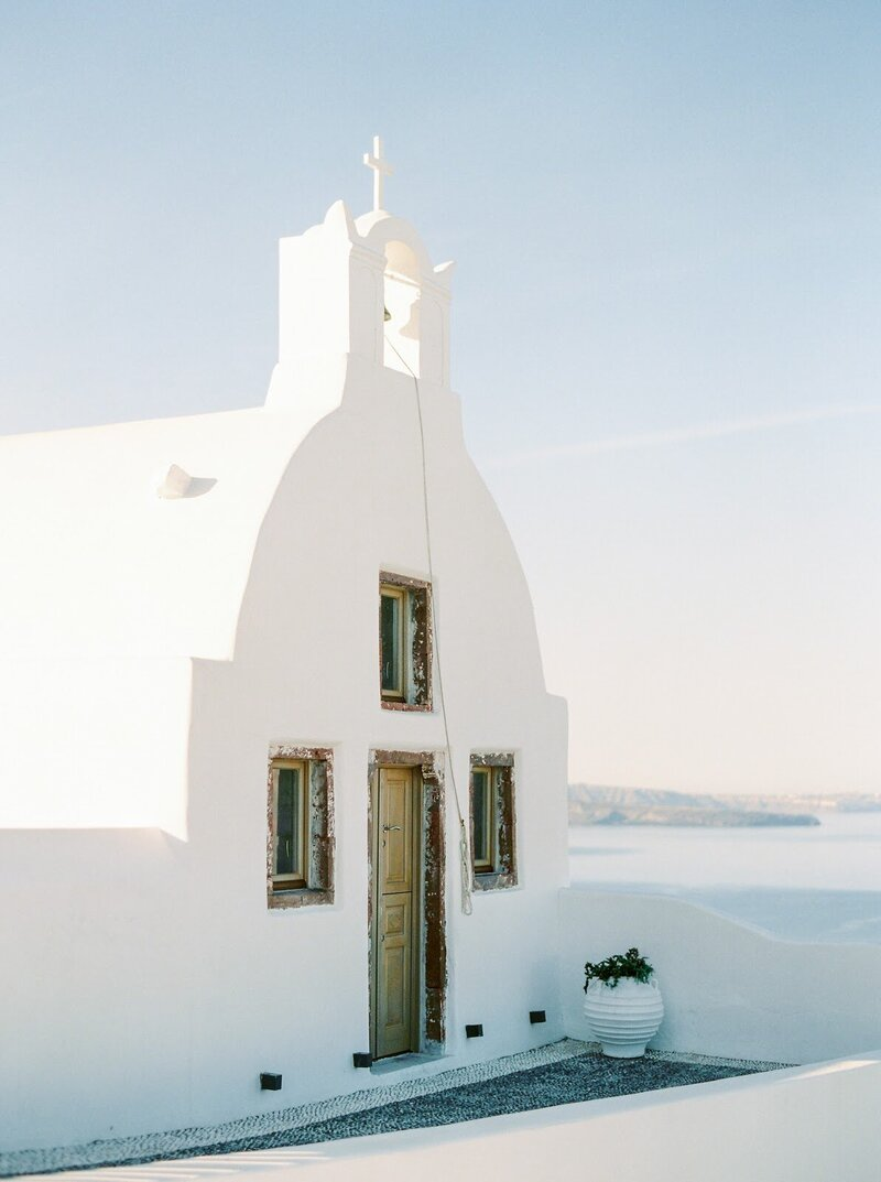 Small white chapel in Santorini
