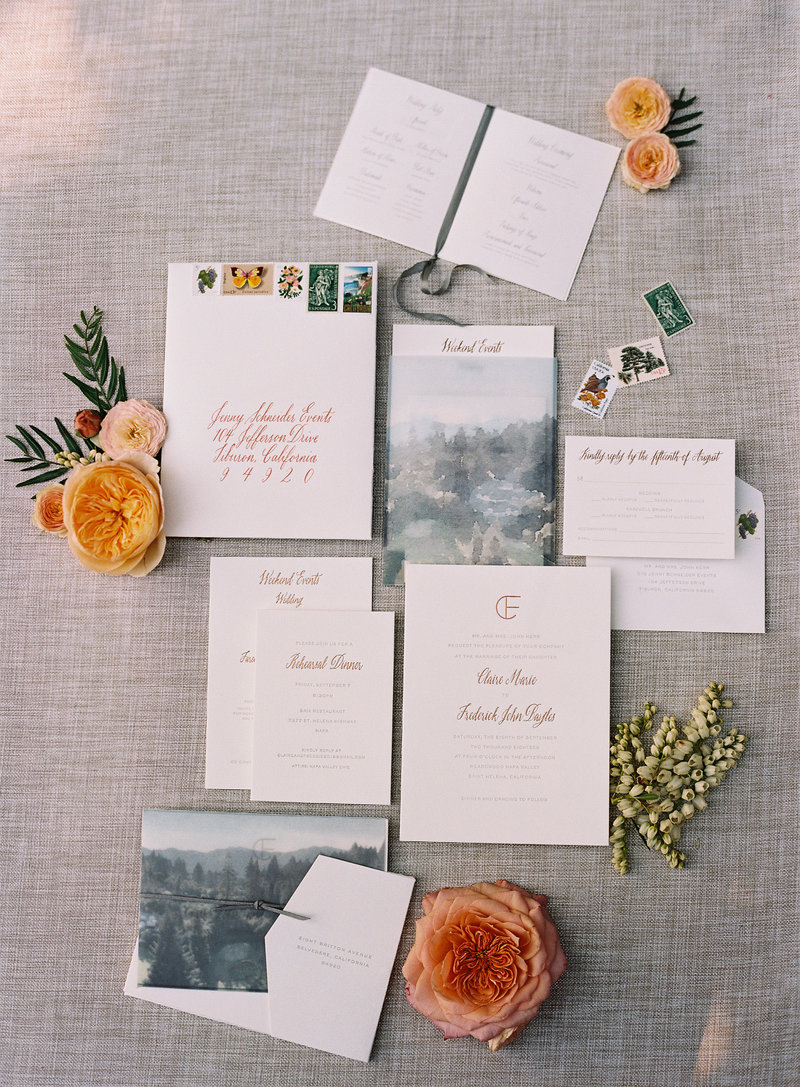 Invitation for wedding by Jenny Schneider Events at Meadowood luxury resort in Saint Helena in Napa Valley, California. Photo by Eric Kelley Photography.